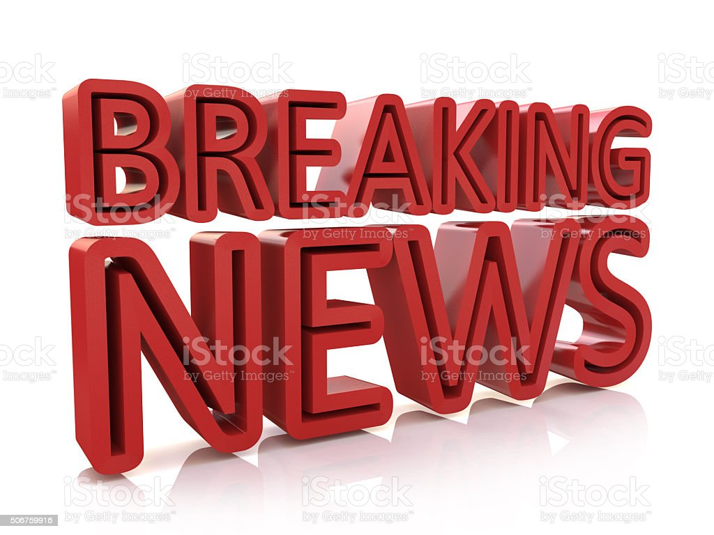 Breaking news 3D text on white background stock photo