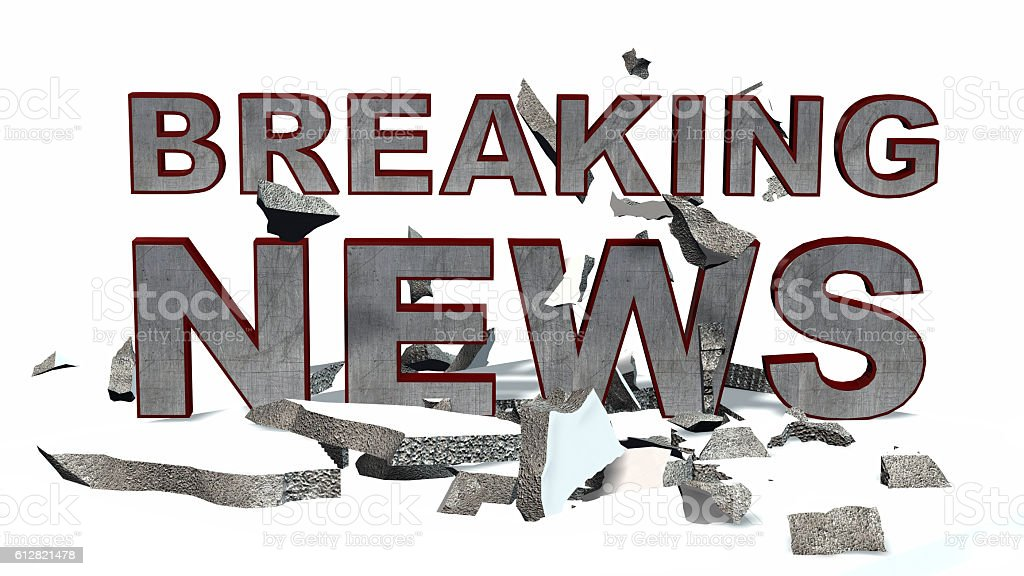 Breaking News 3D text with rubble and debris stock photo