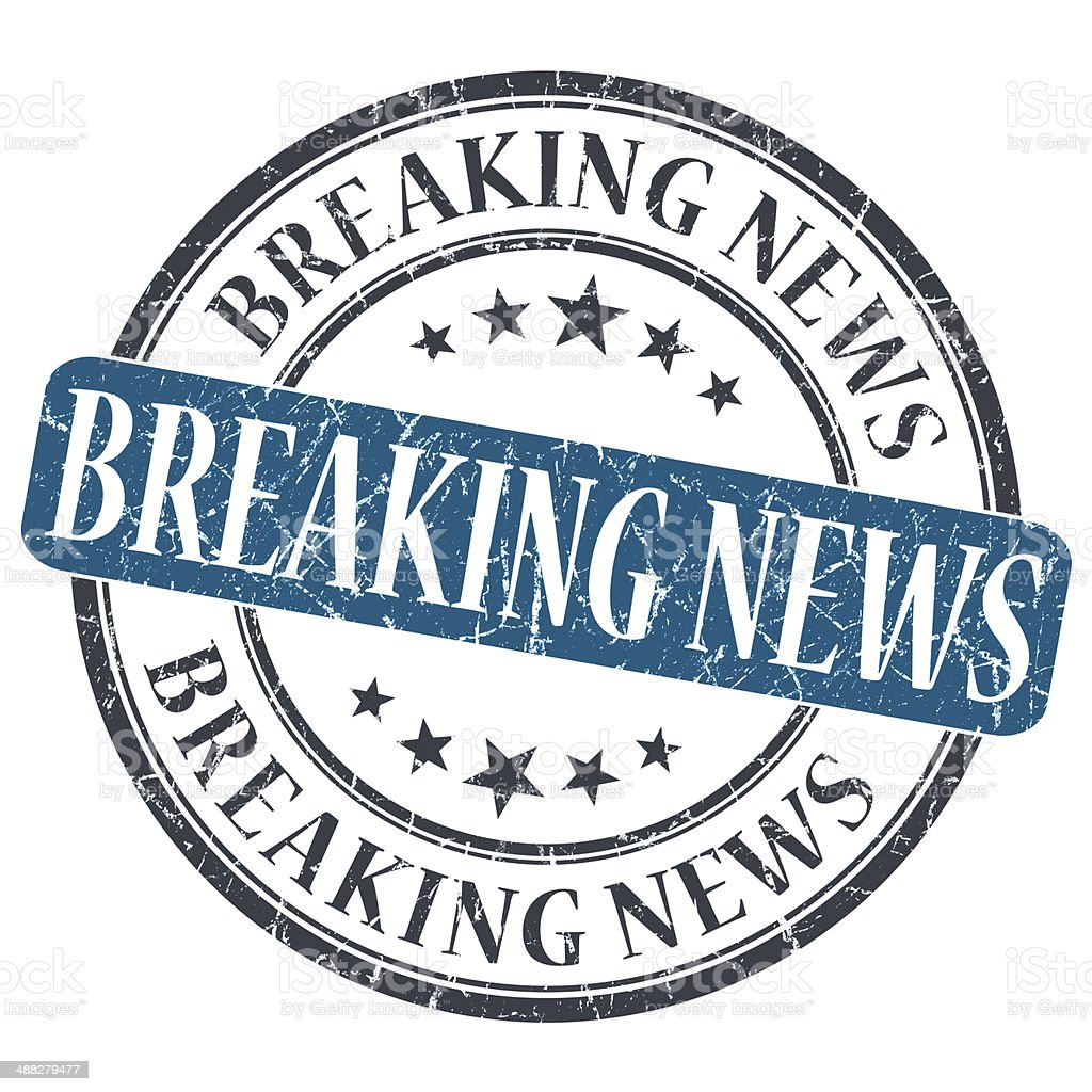 Breaking News blue grunge round stamp on white background stock photo