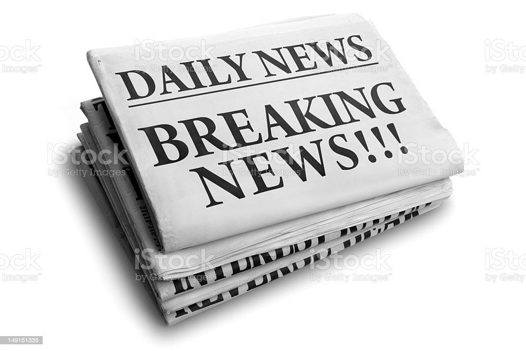 Breaking news daily newspaper headline stock photo
