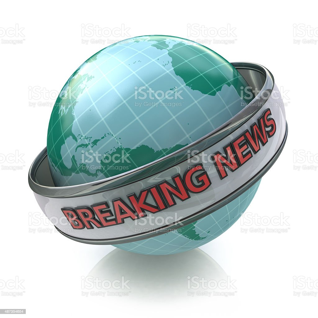 Breaking News Globe in 3D including clipping path stock photo