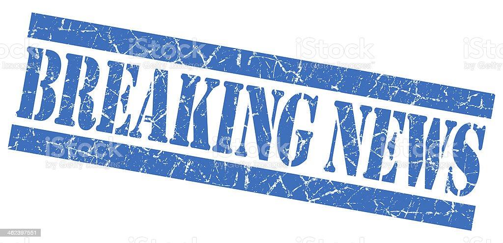 Breaking news grunge blue stamp stock photo