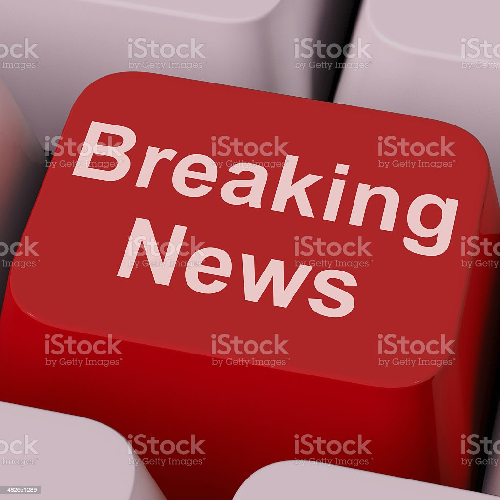 Breaking News Key Shows Newsflash Broadcast Online stock photo