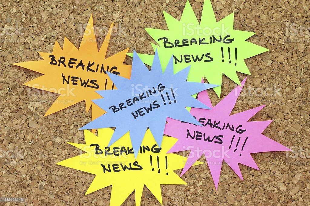 Breaking News on bulletin board royalty-free stock photo