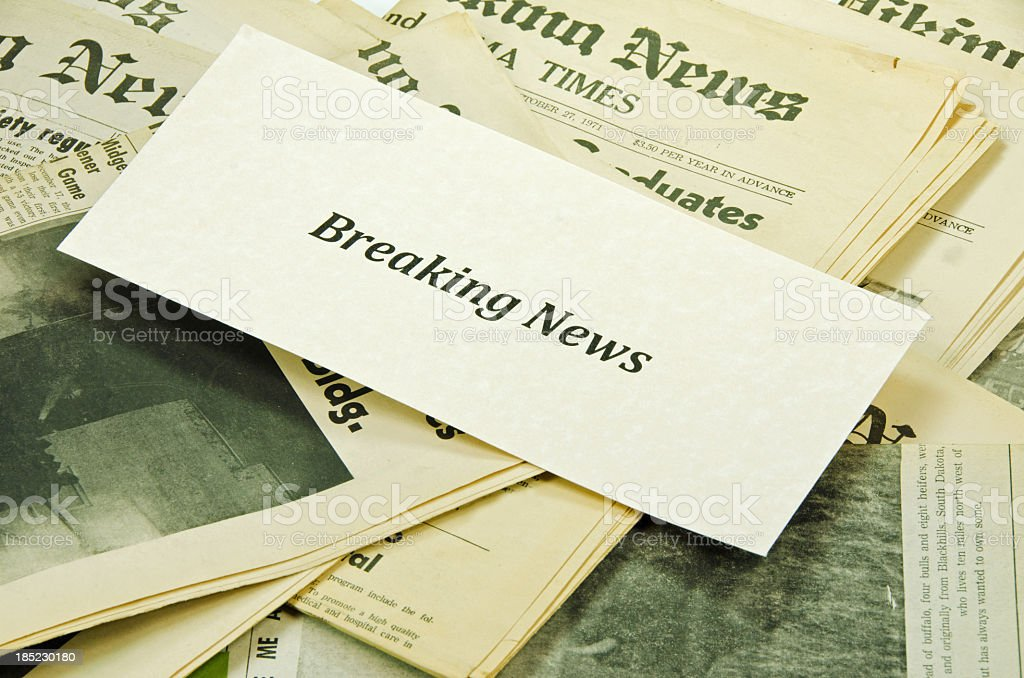 Breaking News on  Papers Close-up stock photo