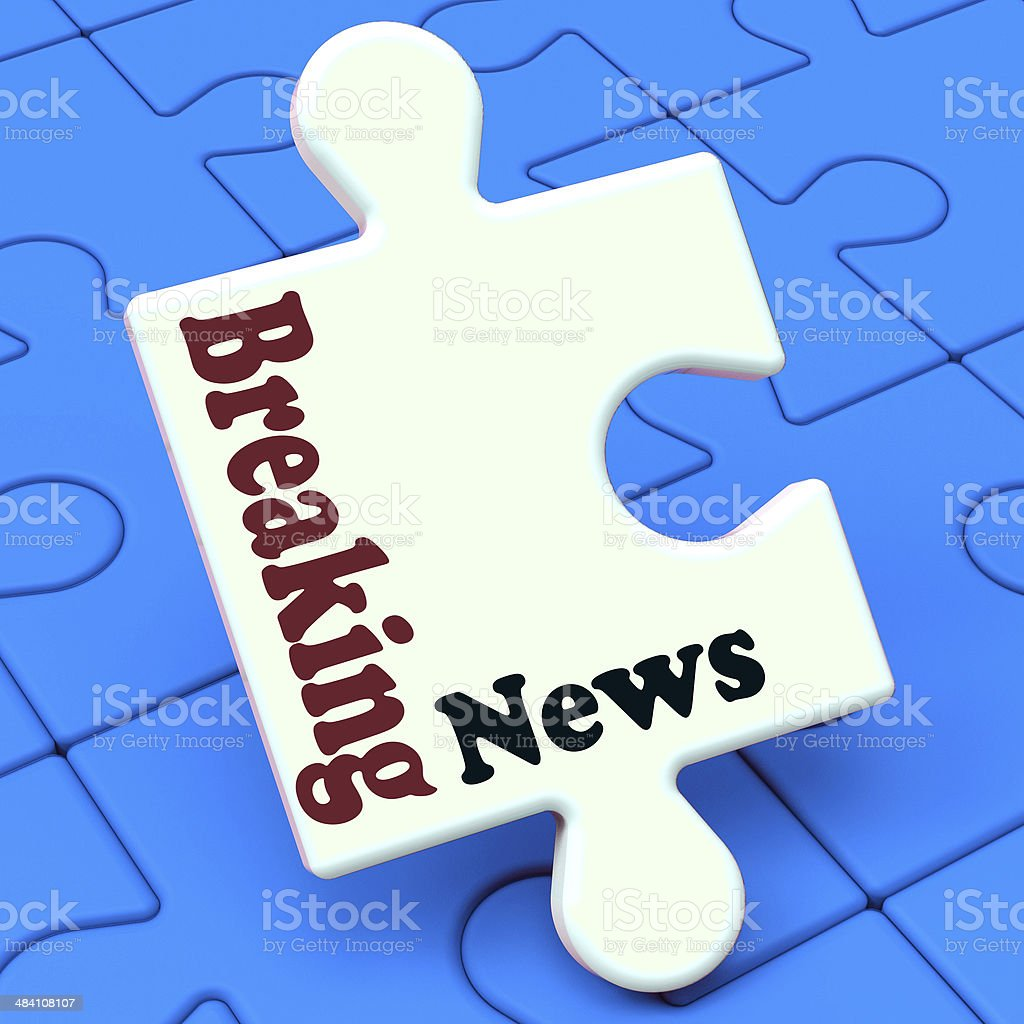 Breaking News Puzzle Shows Newsflash Broadcast Or Newscast stock photo