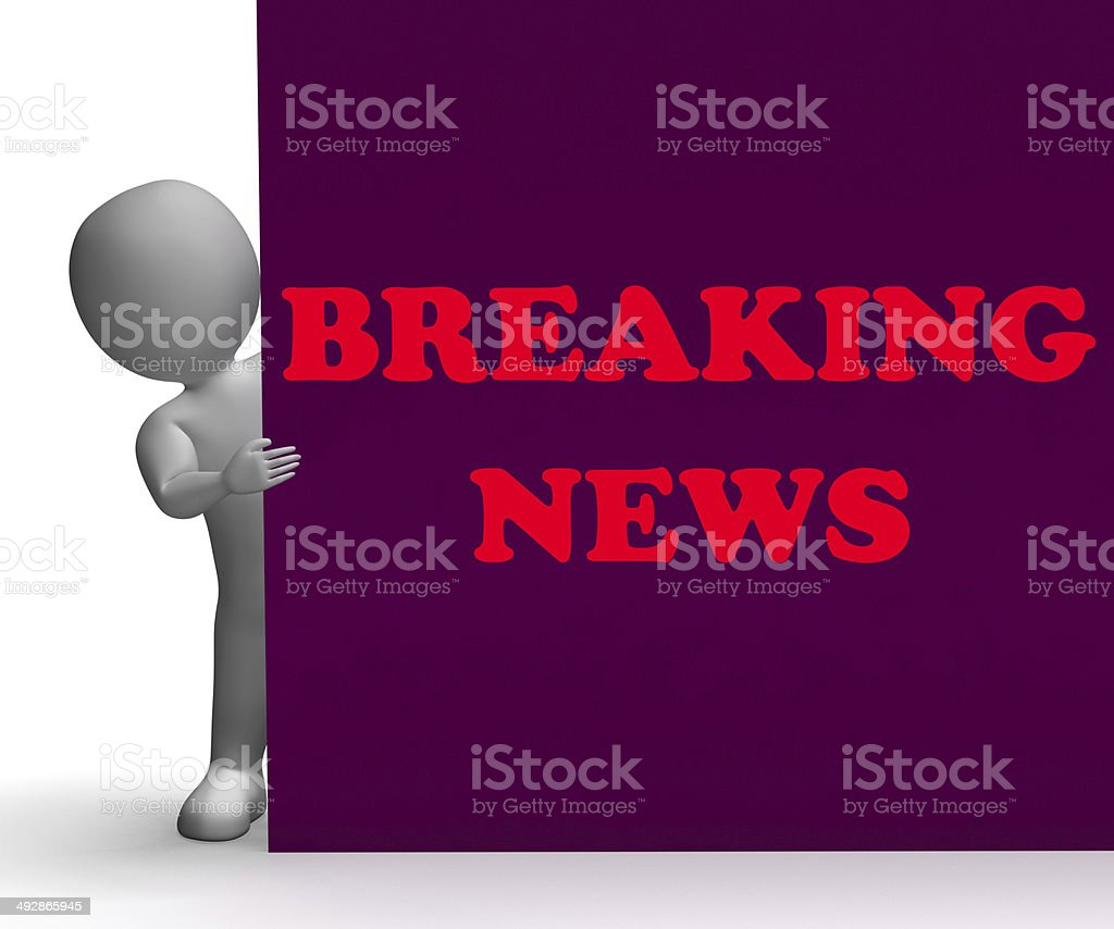 Breaking News Sign Showing Last Minute Bulletin stock photo