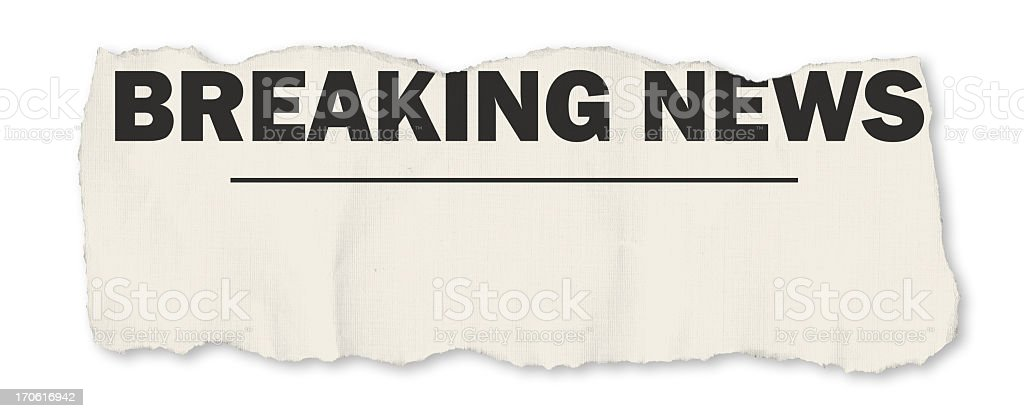 Breaking news story top of the ripped wavy page royalty-free stock photo