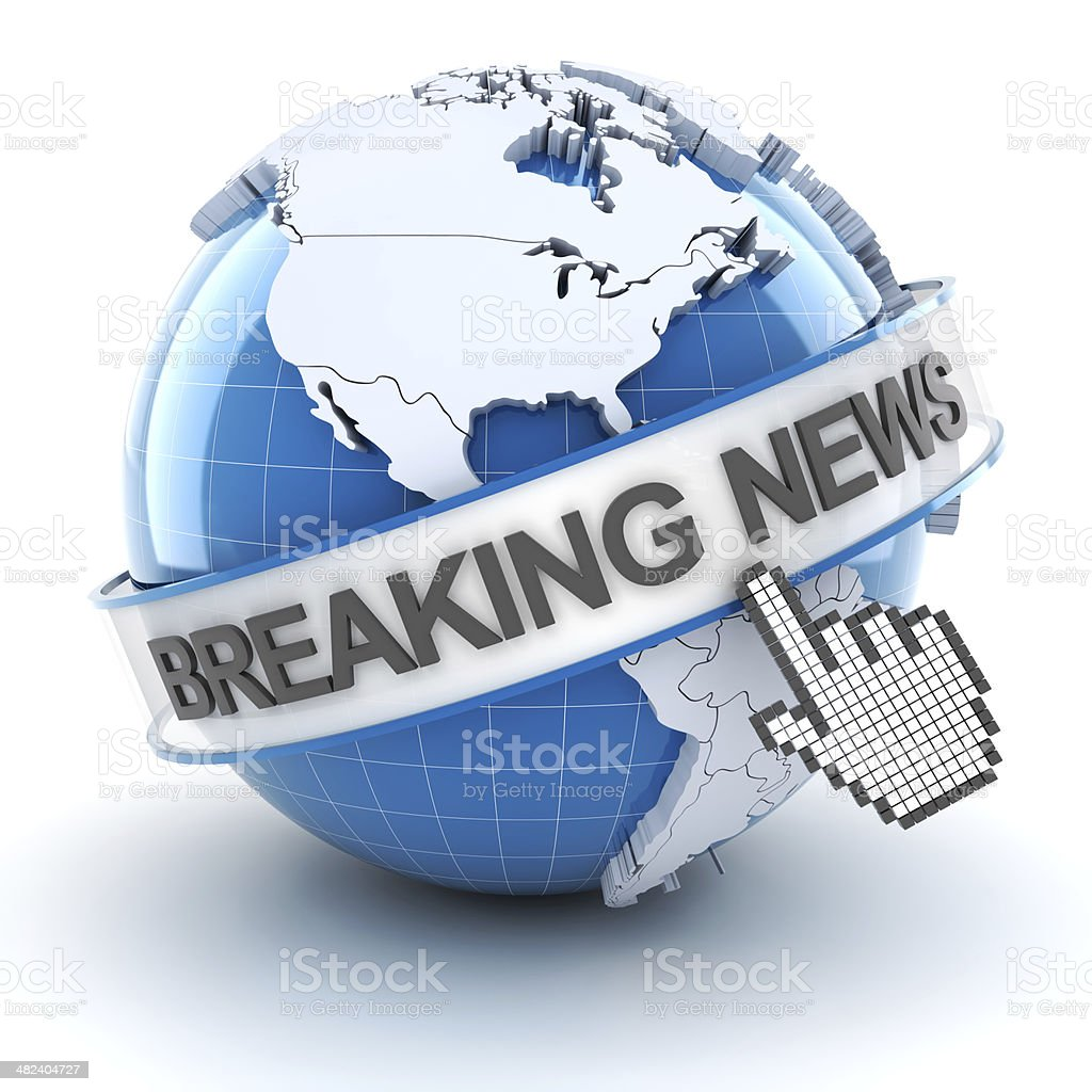 Breaking news symbol with globe, 3d render stock photo