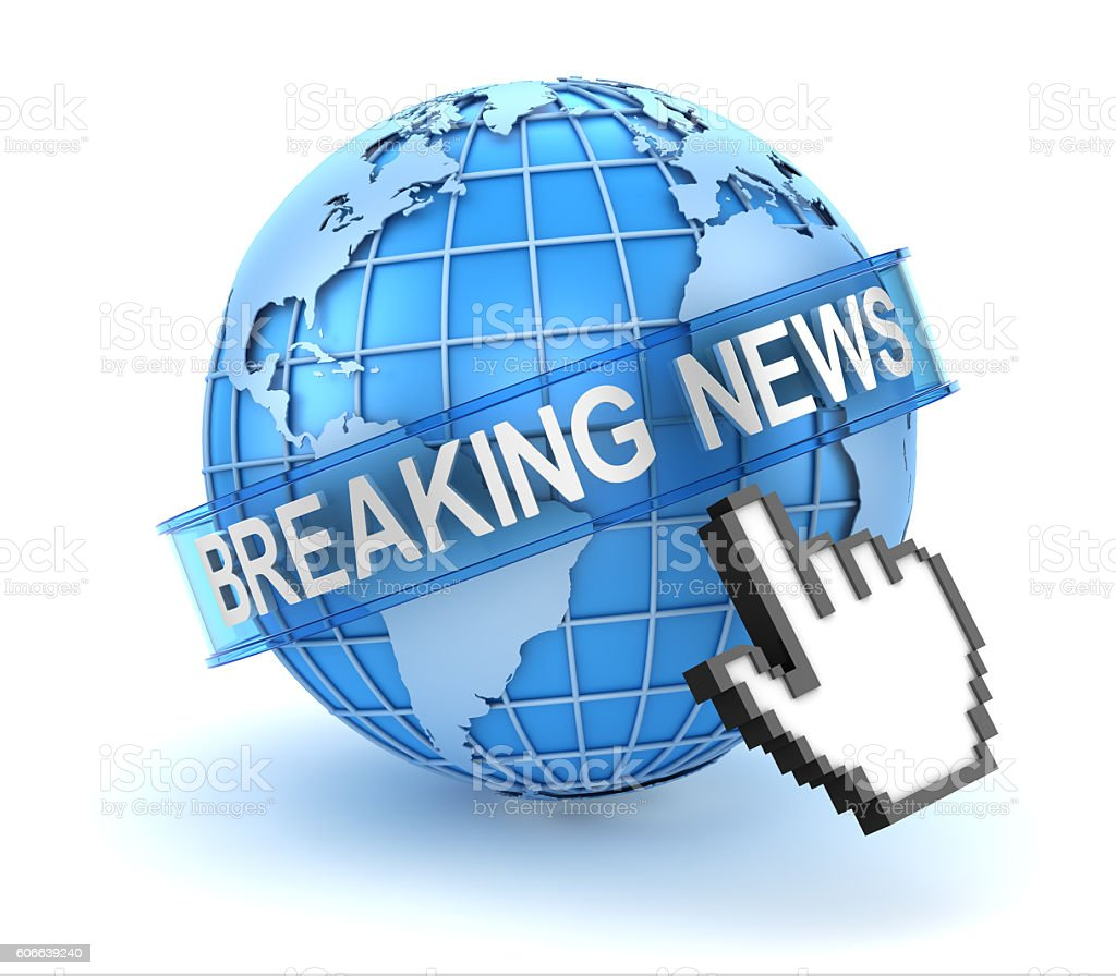 Breaking news text with world and hand cursor stock photo