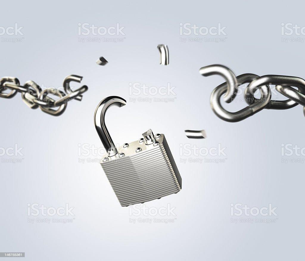 breaking padlock stock photo