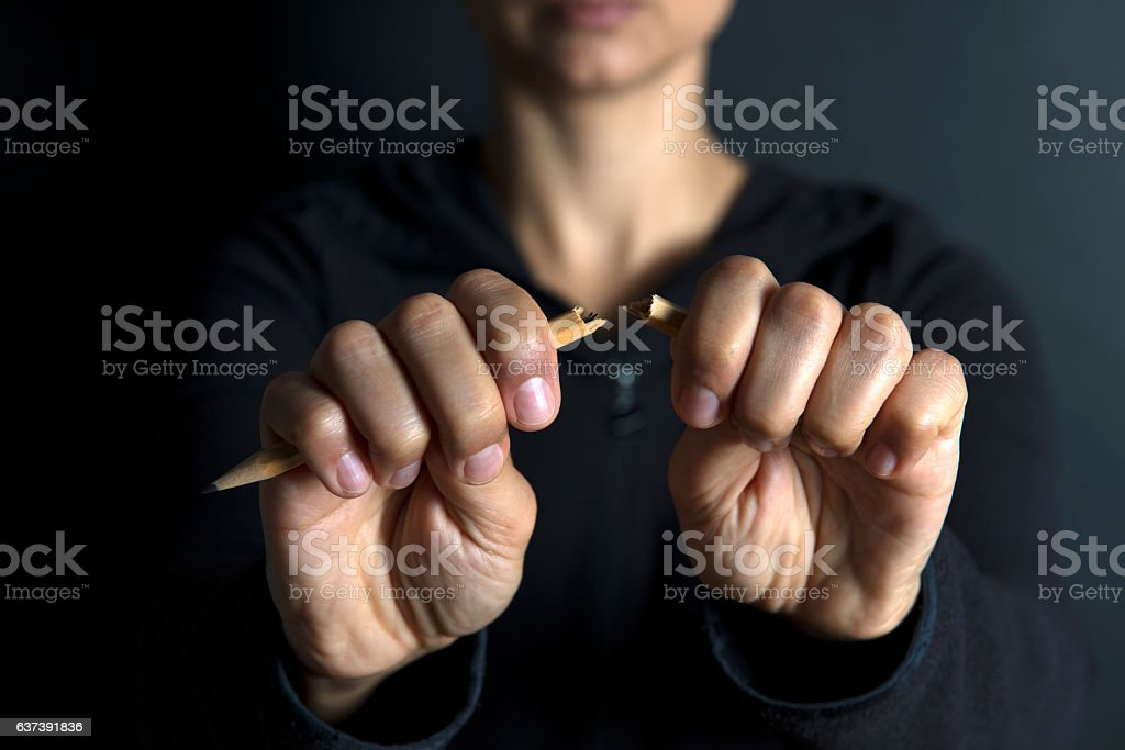 Breaking Pencil stock photo