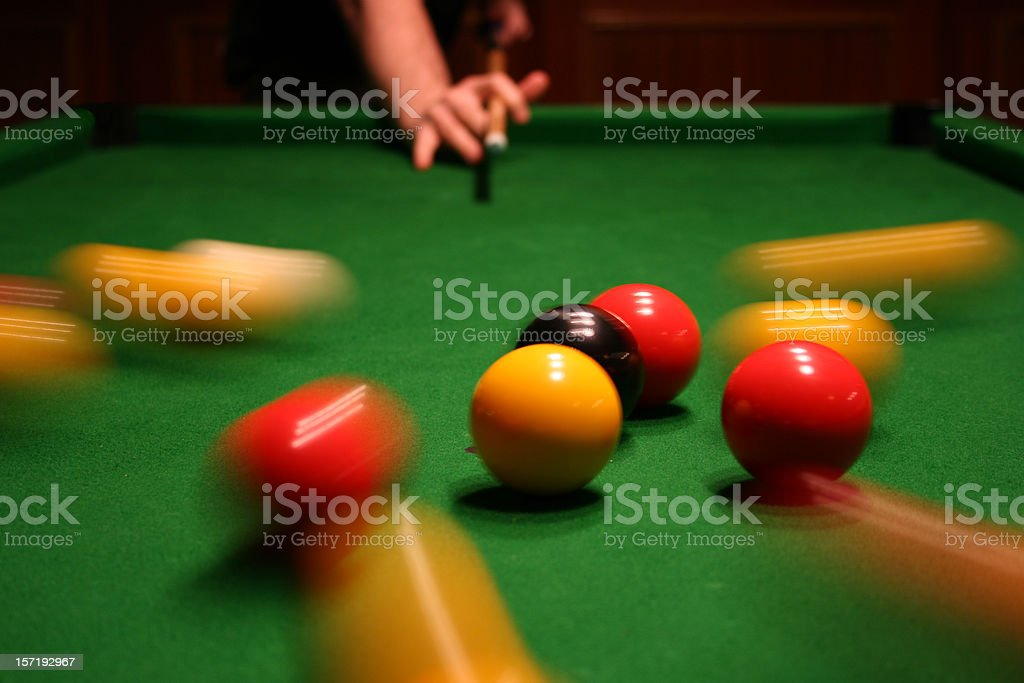 Breaking pool balls stock photo