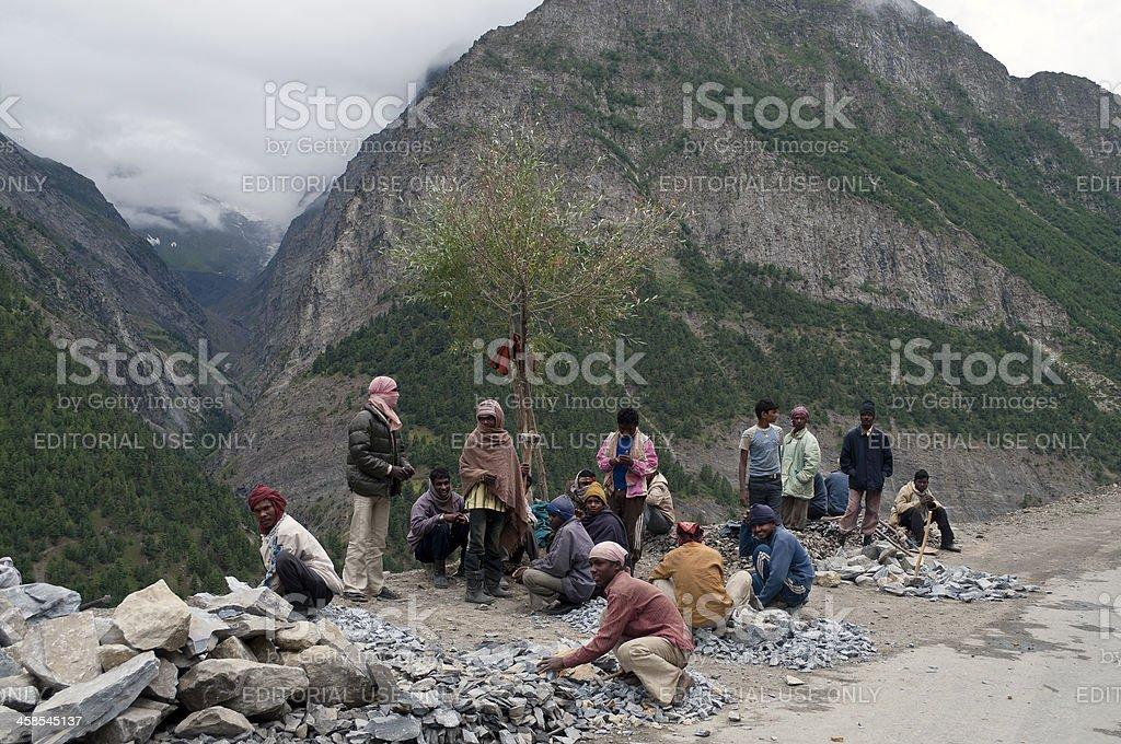 Breaking Rocks on Leh-Manali Road India royalty-free stock photo