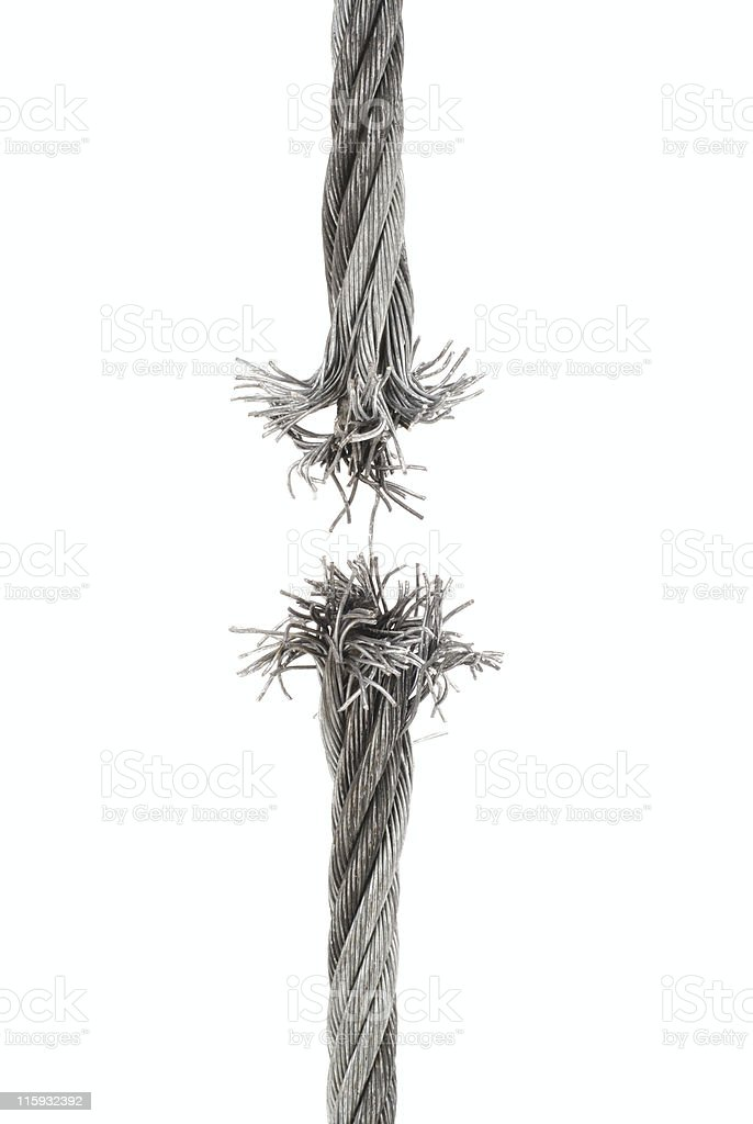 Breaking steel cable, close-up stock photo