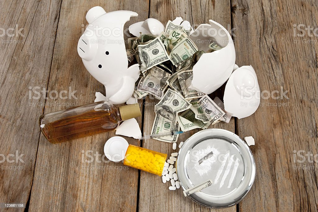 Breaking the Bank to Pay for Addictions stock photo