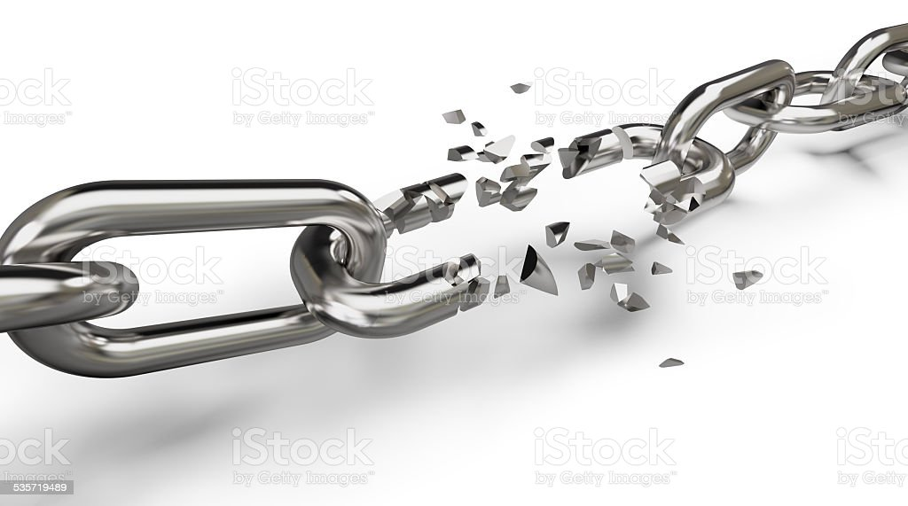 breaking the chain stock photo