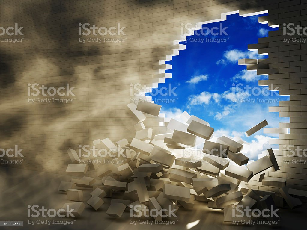 breaking wall stock photo