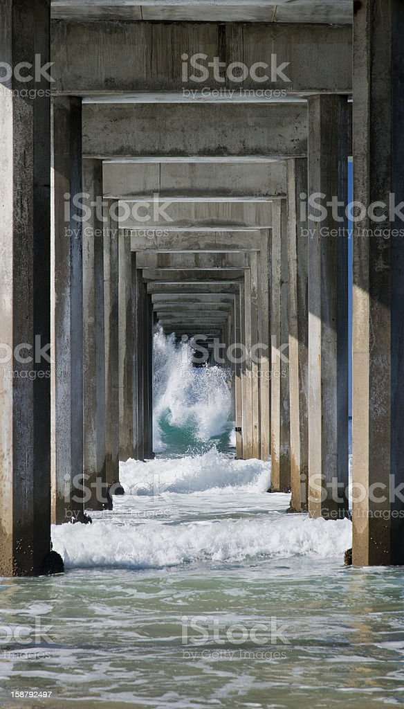 Breaking Wave Under La Jolla's Scripps Pier stock photo