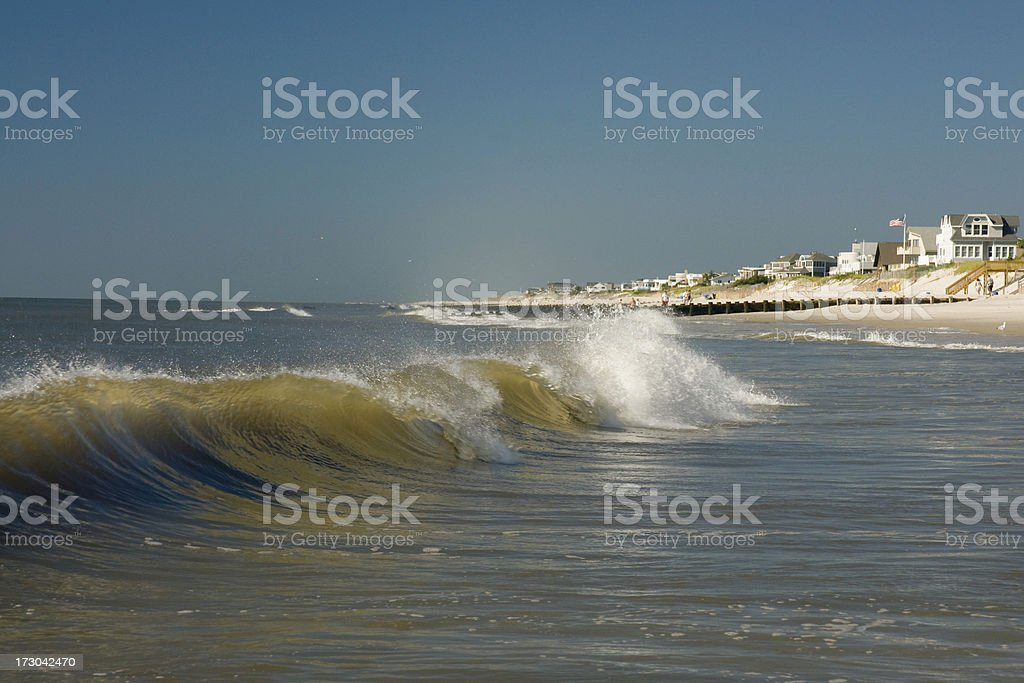 Breaking Waves at the Jersey Shore royalty-free stock photo