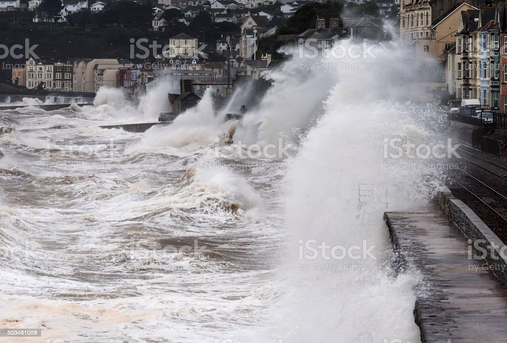 Breaking waves Dawlish particularly against reconstructed part of sea wall stock photo