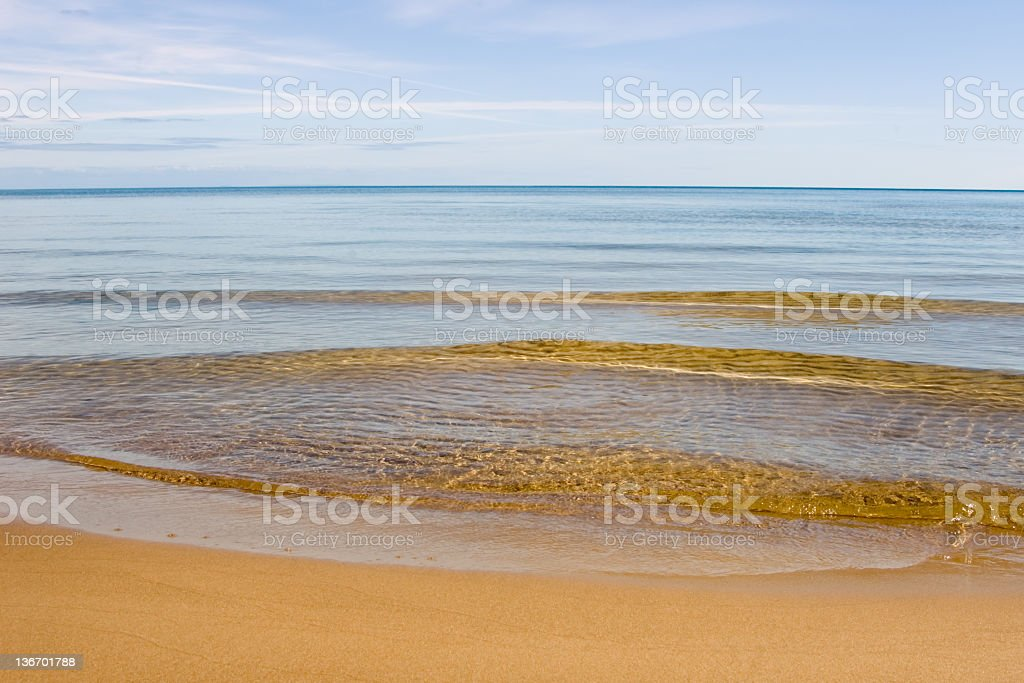 Breaking Waves On Beach royalty-free stock photo