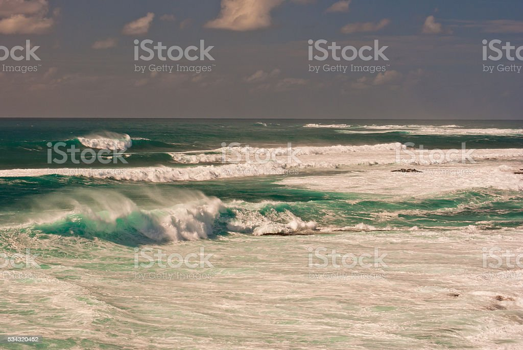 breaking waves on El Cotillo stock photo