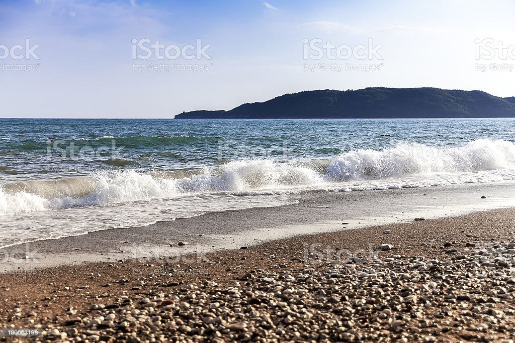Breaking waves on the beach royalty-free stock photo
