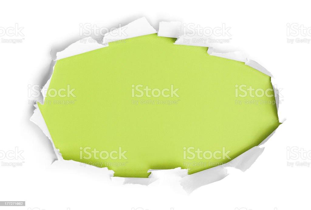 Breakthrough paper circle stock photo