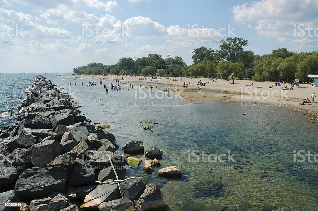 Breakwater and beach royalty-free stock photo