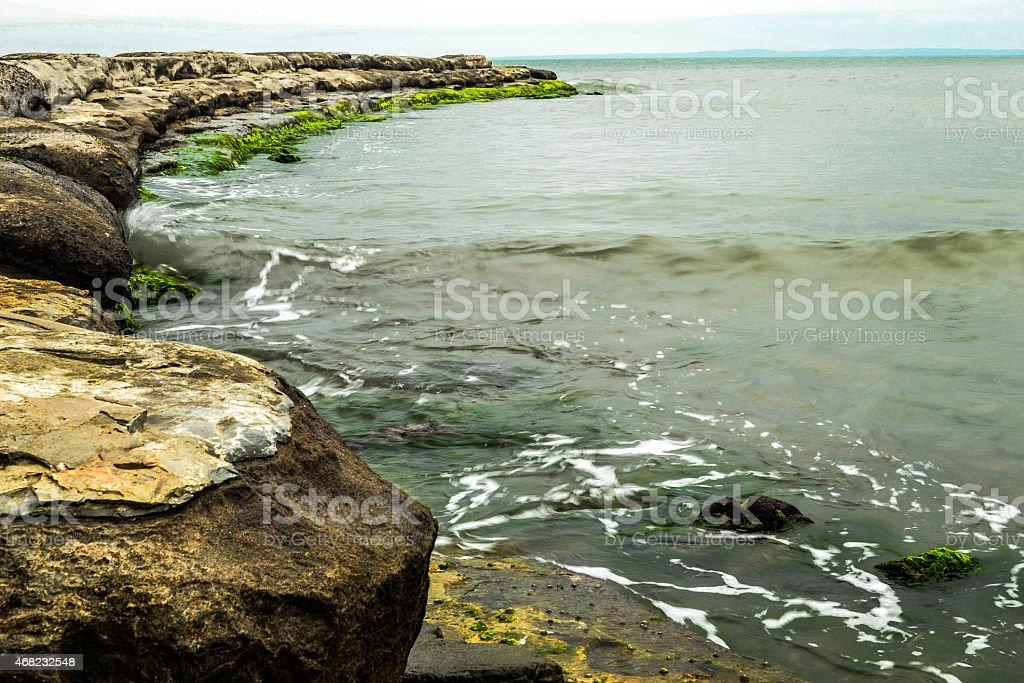 Breakwater Beach Boca del Rio Veracruz stock photo