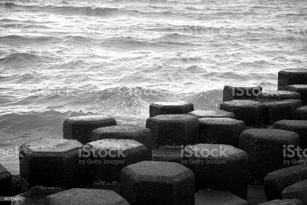 Breakwater blocks stock photo