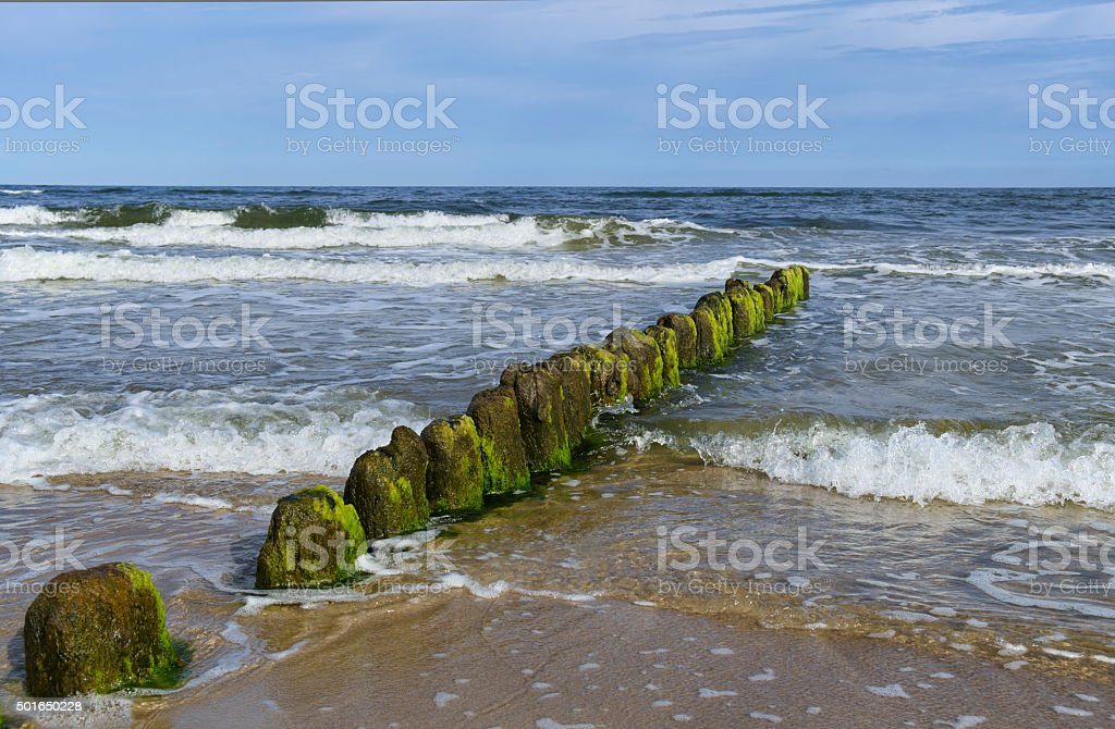 Breakwater on Baltic Sea stock photo