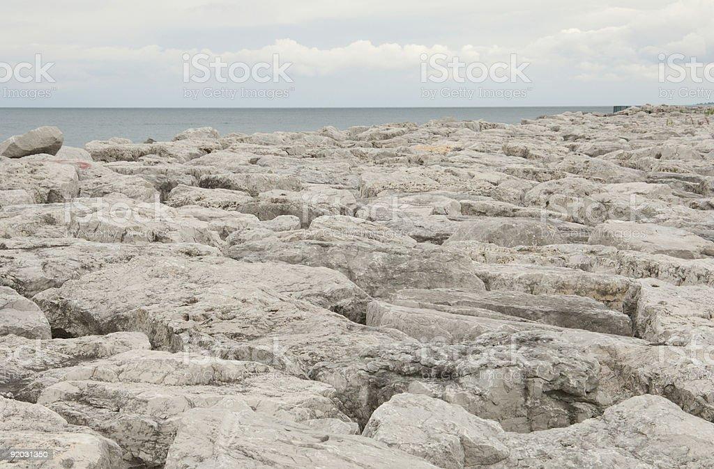 Breakwater on Lake Michigan stock photo