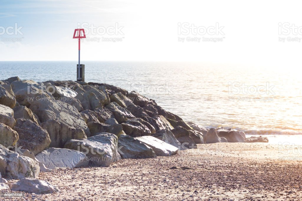 Breakwater on Southbourne Beach at Hengistbury Head stock photo