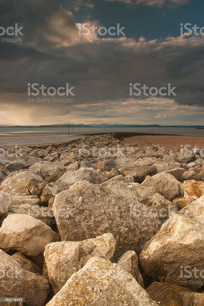 Breakwater on the beach in Morecambe stock photo