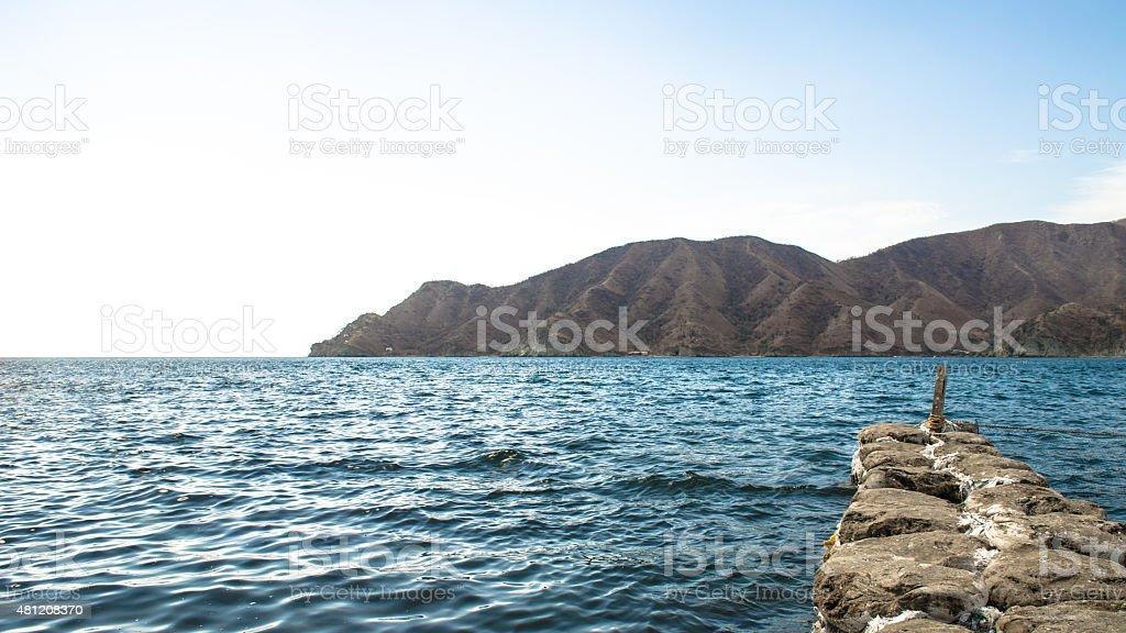 Breakwaters in Playaca beach stock photo