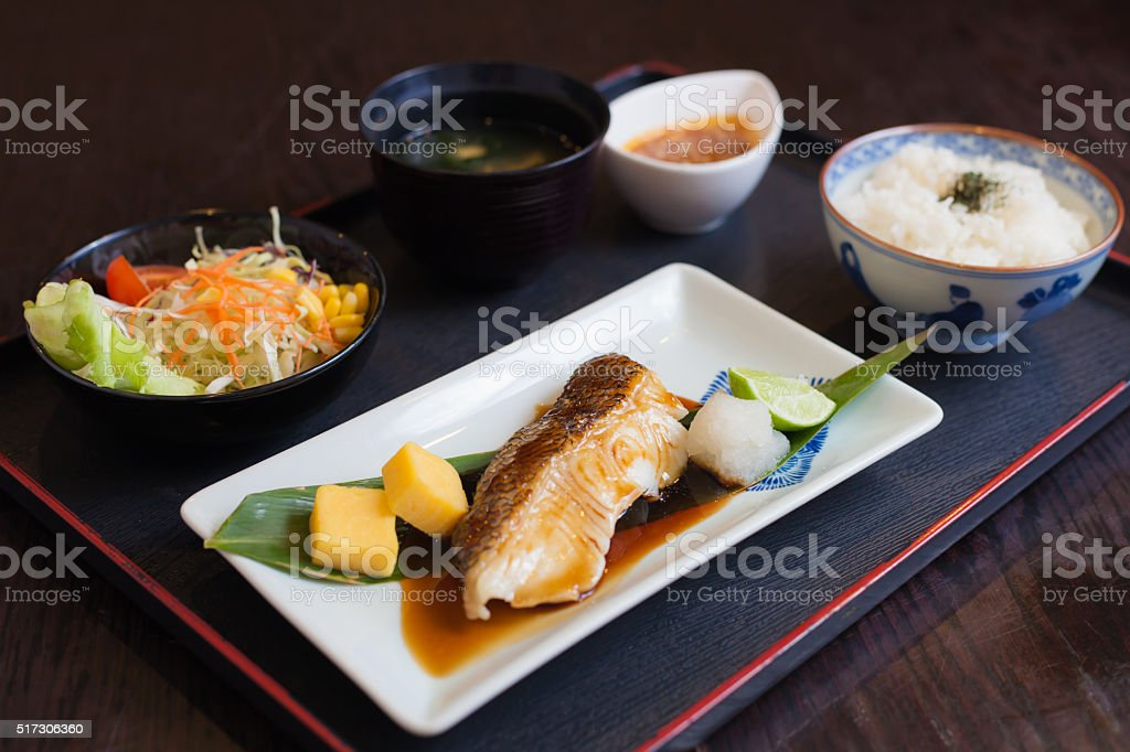 bream grilled with sauce japanese food  with sau stock photo