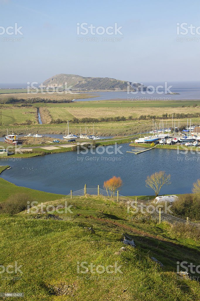 Brean Down and Uphill boat yard Somerset Weston-super-mare royalty-free stock photo