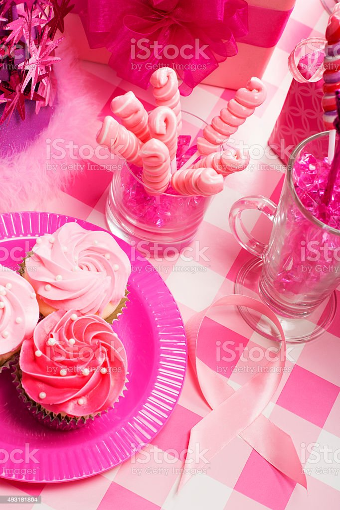 Breast Cancer Awareness Party with Pink Ribbon stock photo