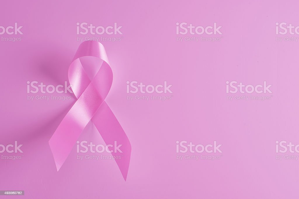 Breast cancer awareness pink ribbon background stock photo