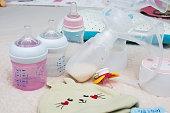 Breast Pump and milk bottle for baby