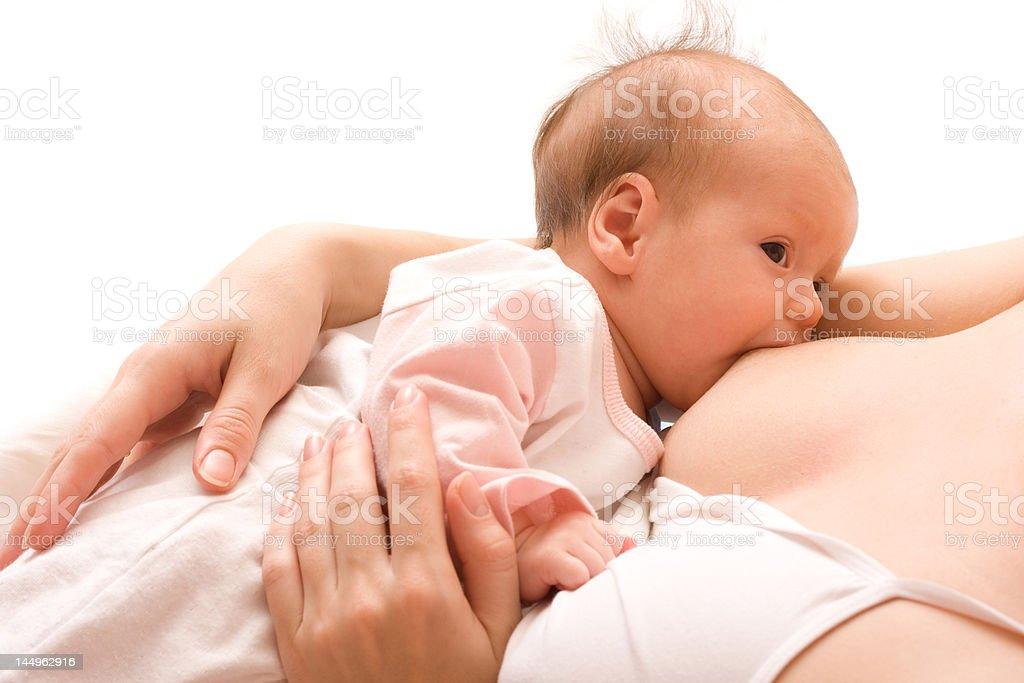 Breastfeeding of newborn baby royalty-free stock photo