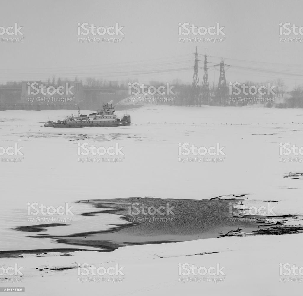Breath of spring.Walk by the Bay.Black and white. stock photo