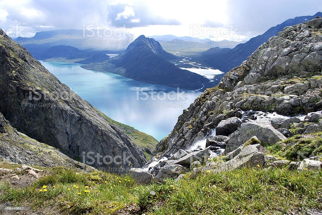 Breath taking mountain view Norway stock photo