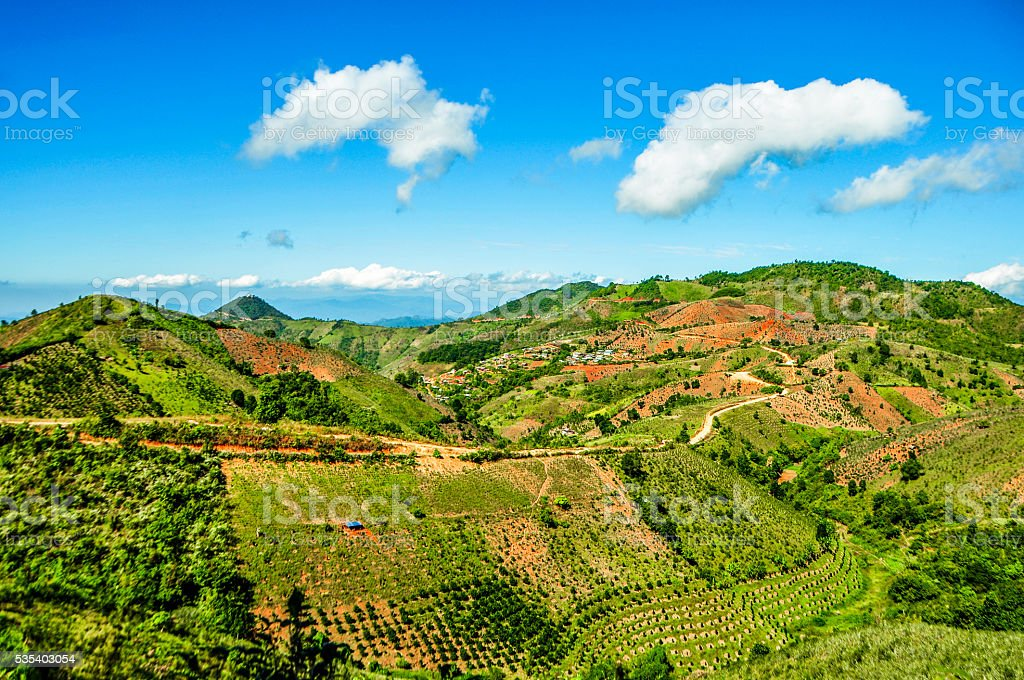 Breath taking view of Kalaw hills, Myanmar stock photo
