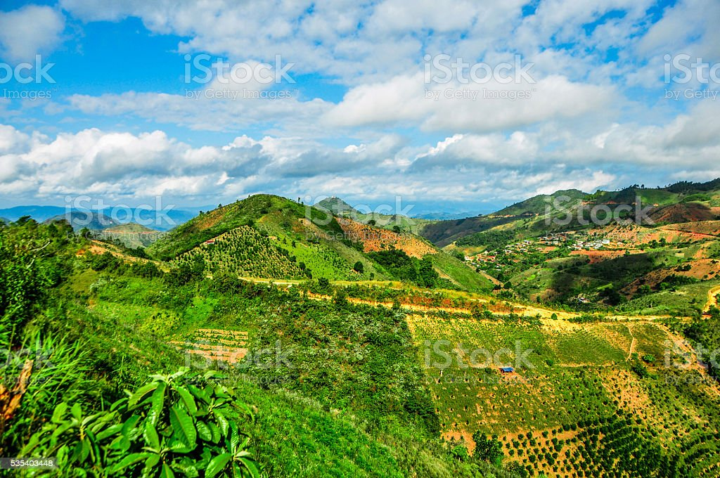 Breath taking view of Kalaw hills, Myanmar stock photo