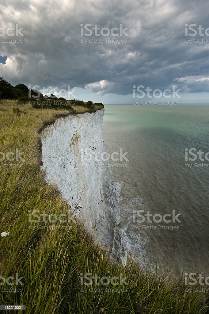 Breath taking view of white cliffs of Dover before the storm stock photo