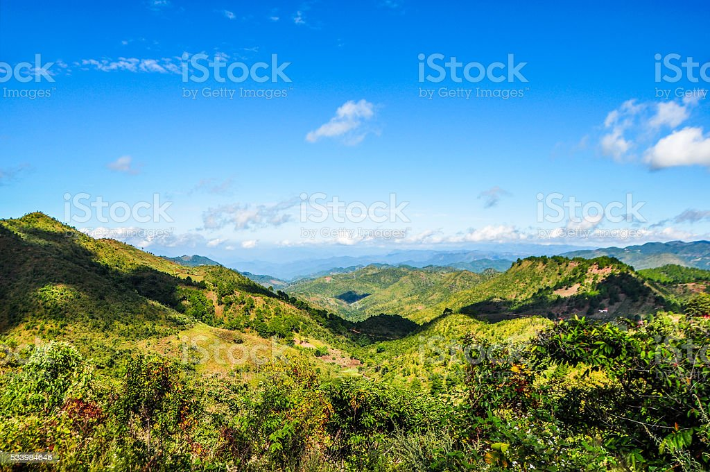 Breath taking view over Shan plateau at Kalaw, Myanmar stock photo