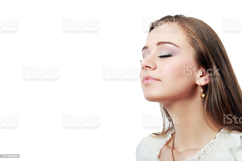 breath woman stock photo